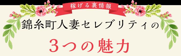 稼げる裏情報 錦糸町人妻セレブリティの3つの魅力