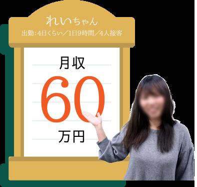 れいちゃん 出勤:4日くらい/1日9時間/4人接客 月収60万円