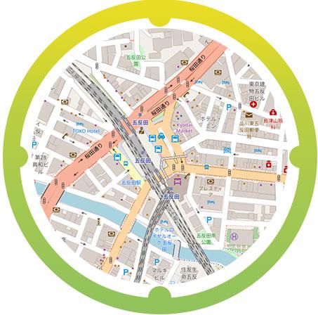 五反田駅周辺の地図